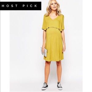 ASOS BlueBelle Maternity Mustard Skater Dress